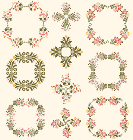 Wildflower decorative frames and borders