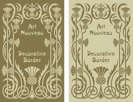アール ヌーボー様式の装飾花の背景の境界線