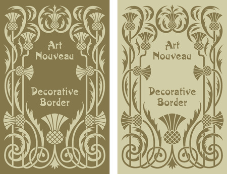 Art Nouveau decorative floral background border