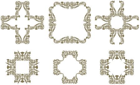 Art Nouveau decorative floral frames and borders