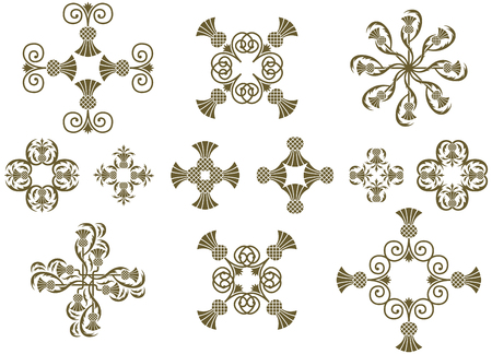 Art Nouveau floral decorative design icons