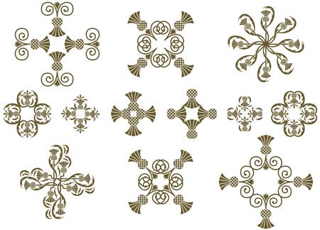 Art Nouveau floral decorative design icons