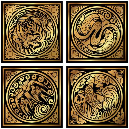 Golden animal element symbols Illustration