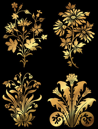 flower leaf: Golden wildflower design elements