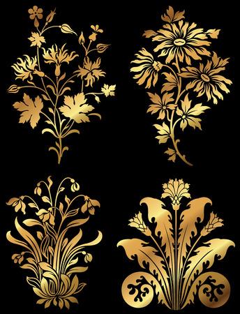 Golden wildflower design elements