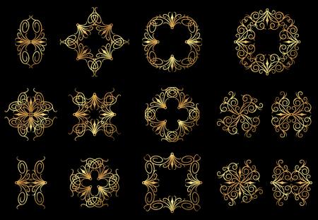Golden floral design icons