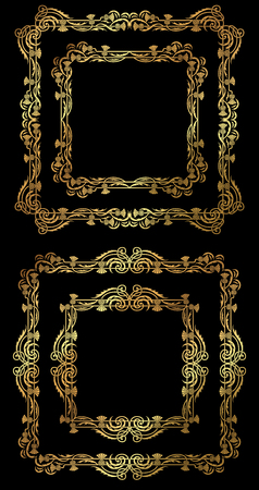 A set of golden floral square frames and borders