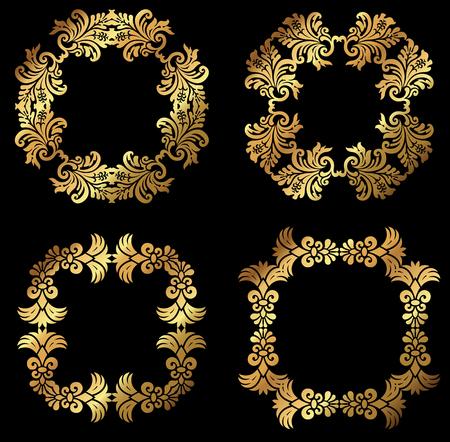A set of golden floral design frames