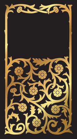 A golden floral design border frame