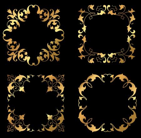 A set of golden floral leafy design frames and borders.