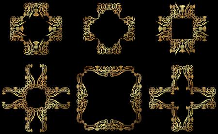 A set of golden floral design frames and borders.