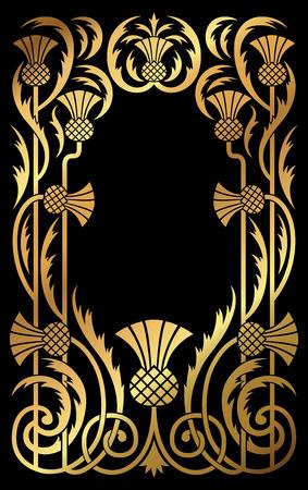 A golden Art Nouveau floral botanical design frame and border. Illustration