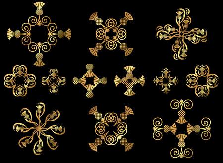 A set of golden floral design icon ornaments. Illustration
