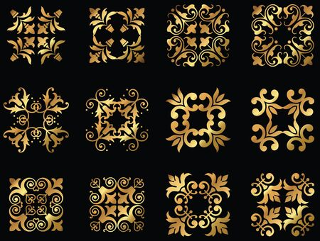 A set of golden floral design icon ornaments