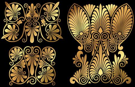 A set of golden Greek floral design elements