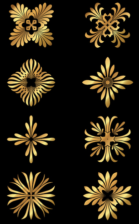 A set of golden Greek floral design icons and ornaments