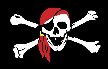 pirate flag: Skull and crossbones jolly rodger pirate flag