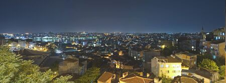Panoramic view of a city residential area in Istanbul with a river at night Stock Photo - 7303566