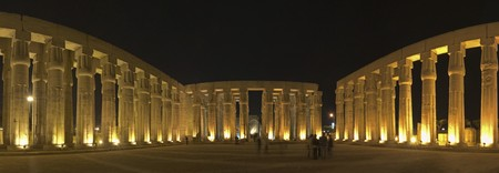 Panoramic view of Luxor Temple lit up at night