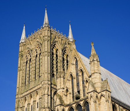 Tower of Lincoln city cathedral in the UK photo