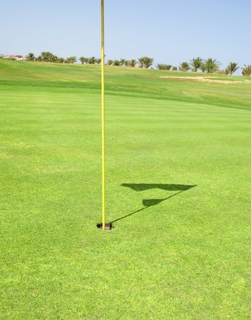 Closeup detail of a golf flag in the hole on a course green Banco de Imagens