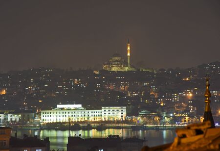 View of Istanbul at night with river and a large mosque on hill Stock Photo - 9169144