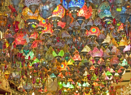 Ornate glass lights hanging in market stall at a souk Stock Photo