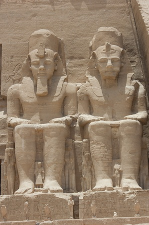Colossal statue of Ramses II at the entrance to Abu Simbel Temple in Egypt photo