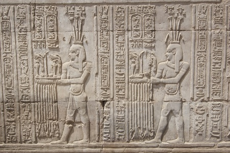 Egyptian hieroglyphic carvings on a wall at the Temple of Kom Ombo Stock Photo - 9660777