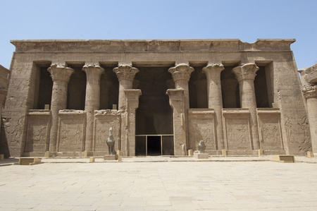 Main entrance to the Temple of Edfu in Egypt Stock Photo