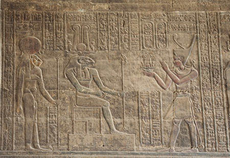 hieroglyphics: Hieroglyphic carvings on a wall at the Egyptian Temple of Khnum in Esna