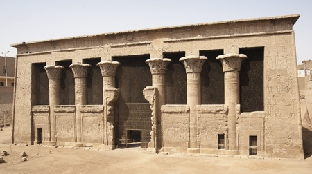 View of the Temple of Khnum in the Egyptian town of Esna Stock Photo