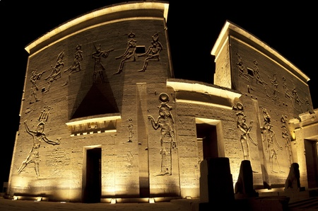 Main entrance to the Temple of Isis on Philae Island in Aswan at night Stock Photo