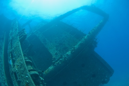 superstructure: Main bridge section and superstructure of a large underwater shipwreck Stock Photo