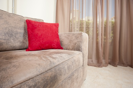 Large comfortable sofa chair in a living room interior decor image photo