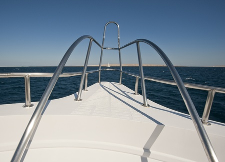 View from the bow of a large luxury motor yacht Stock Photo - 12018080