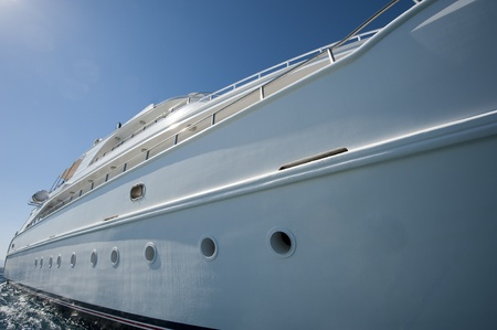 hull: Hull of a large luxury motor yacht at sea Editorial