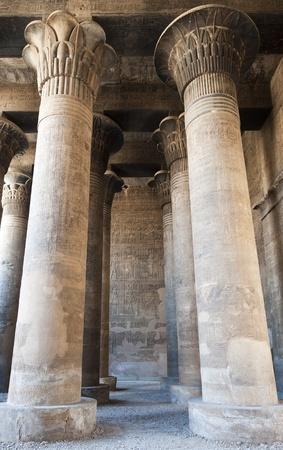 Columns in the ancient egyptian temple of Khnum at Esna with hieroglyphic carvings Standard-Bild
