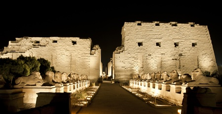 Ancient egyptian temple of Karnak in Luxor lit up at night during the sound and light show Banco de Imagens
