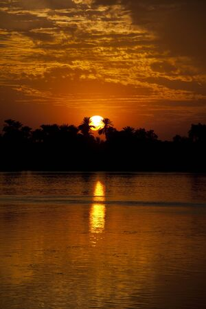 river bank: Beautiful sunset over a large river with a tree-lined river bank and reflection in the water