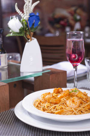 Prawns a la penne luxury meal with pasta
