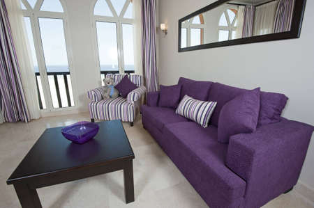Interior design of a luxury apartment living room with a sea view photo