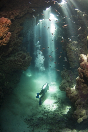 Scuba diver exploring an underwater cave framed in beams of sunlight