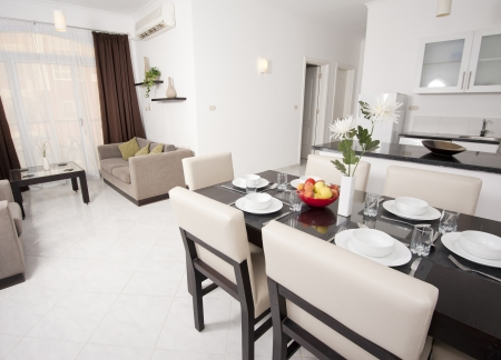 Living area of a luxury apartment showing interior design