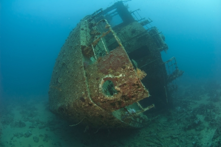 Stern section of a large underwater sunken shipwreck photo