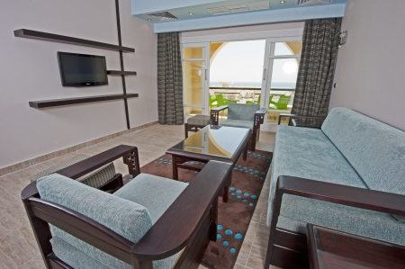 Living room inter in a luxury hotel suite with tropical sea view Stock Photo - 14716025