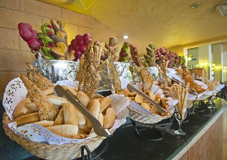 Bread selections on display at a hotel buffet photo