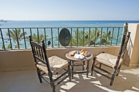 Tropical sea view from a luxury hotel balcony