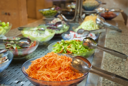 Selection of salads at a buffet bar in a luxury hotel restaurant Stock Photo