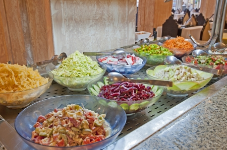 Selection of salads at a buffet bar in a luxury hotel restaurant Stock Photo - 14716010
